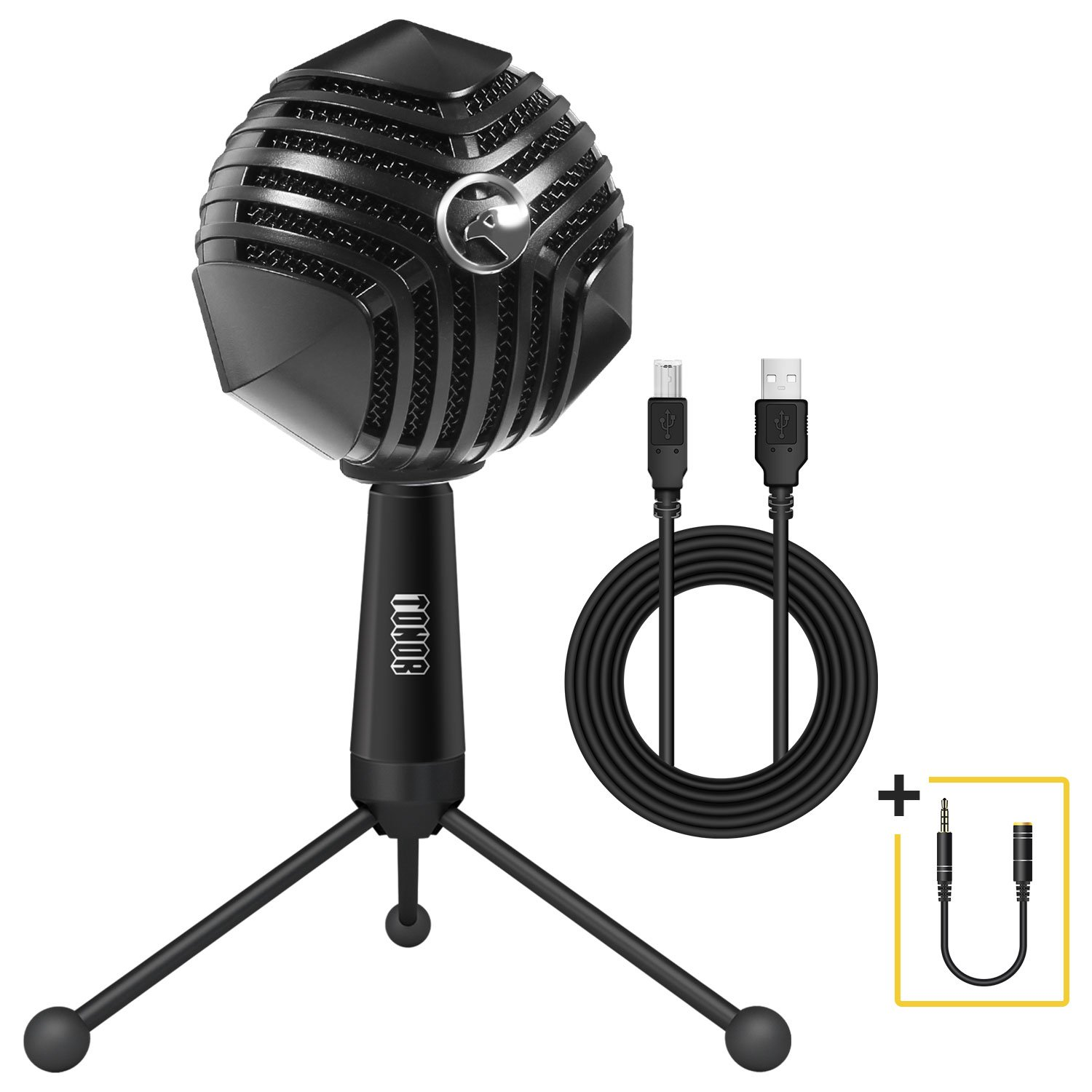 TONOR USB PC Microphone Condenser Plug&Play Mic Laptop with Mute Button and Voice Control for Podcast/Chatting/Youtube/Skype/Recording/Gaming Compatible with Mac or Windows Computer