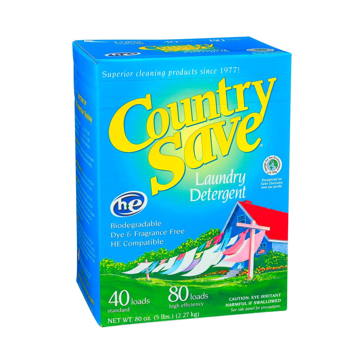 Country Save Biodegradable Non Toxic Fragrance Free Laundry Detergent Powder for Cold and Warm Washing in HE and Regular Machines - 5 lb (80 oz)