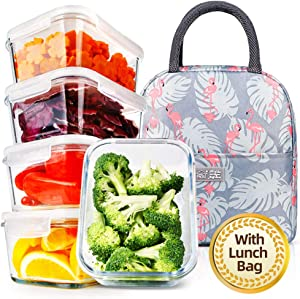 (5 Pack, 36.8oz) DAS TRUST Upgraded Meal Prep Containers with Lunch Bag Stackable Glass Food Storage Containers Bento Boxes with Leakproof Locking Lids BPA Free, Oven Microwave Freezer Dishwasher Safe