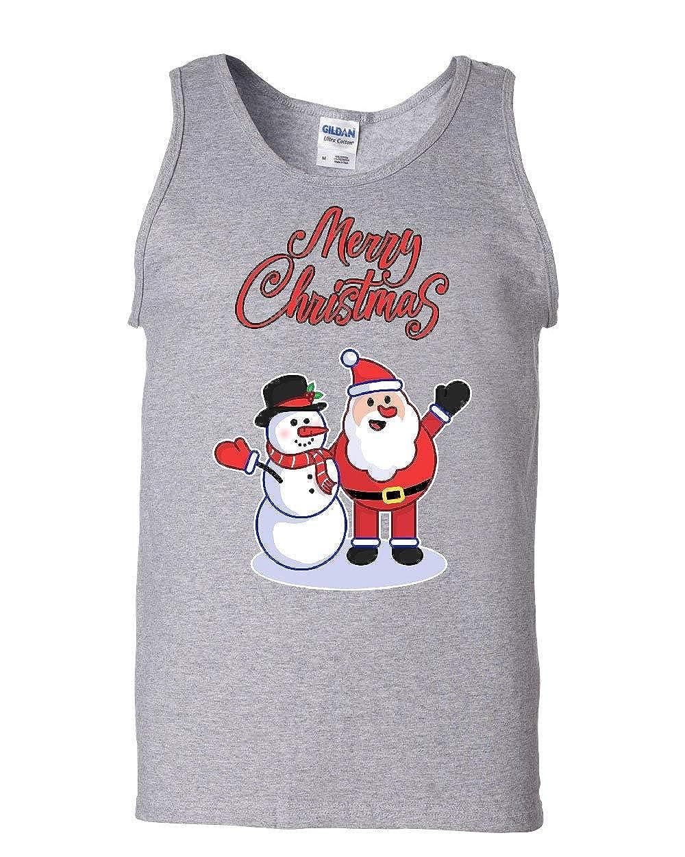 Merry Christmas Santa Snowman Hug Tank Top Xmas Holiday Spirit Sleeveless