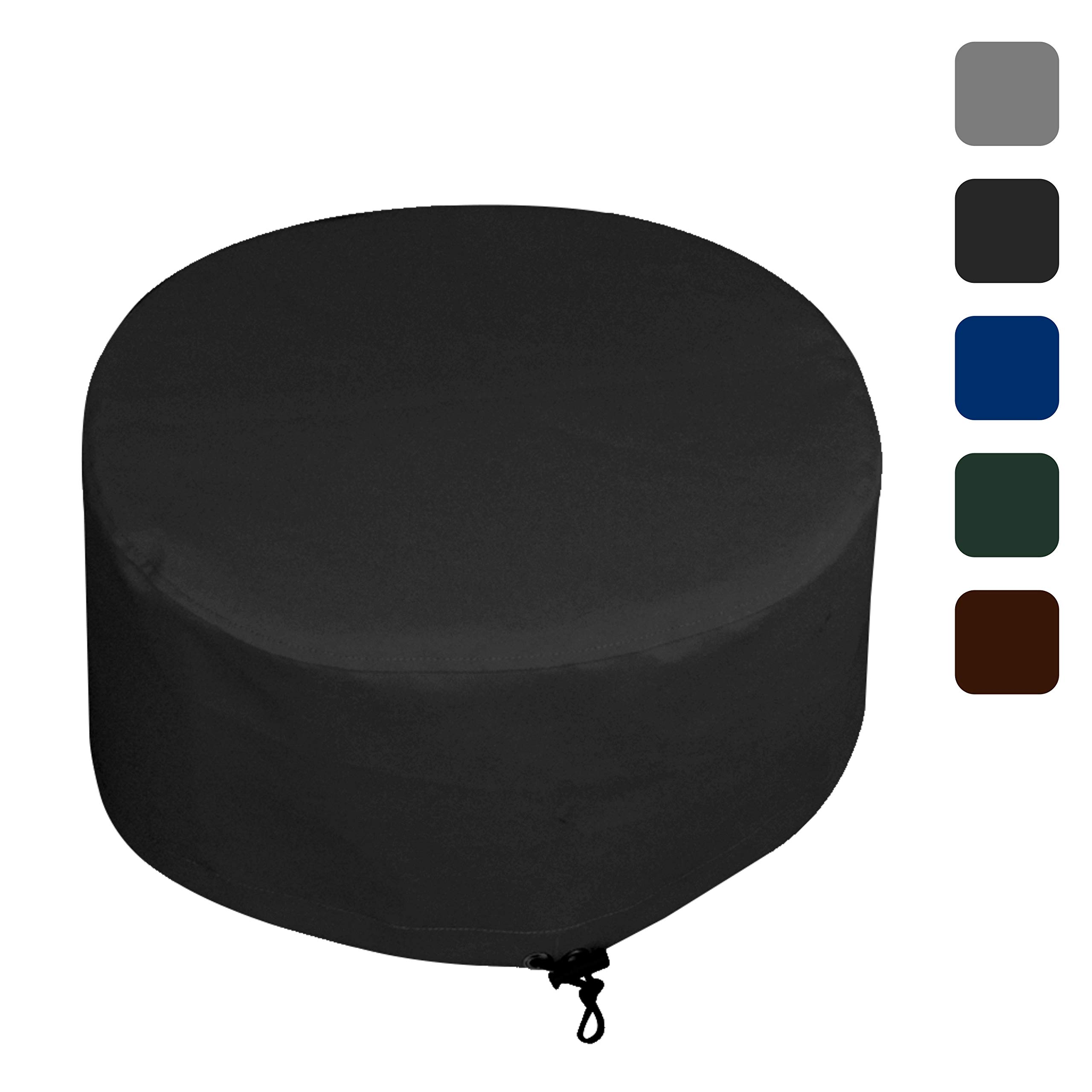 Fire Pit Outdoor Covers Waterproof, 100% UV Resistant, 18Oz PVC Heavy Duty Fabric with Air Pockets and Drawstring for Snugfit to Withstand Winds & Storms. Custom Made to any Size/Shape 36 Inch, Black