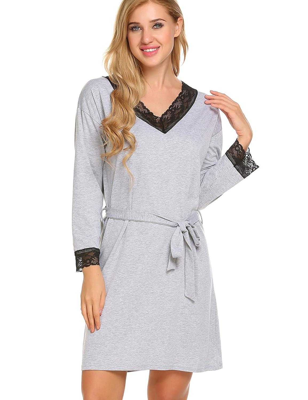 Skione Blusekleid Hemdkleid Langarm Nachthemd Damen Herbst Spitze für Freizeit Casual Kleid mit Gürtel