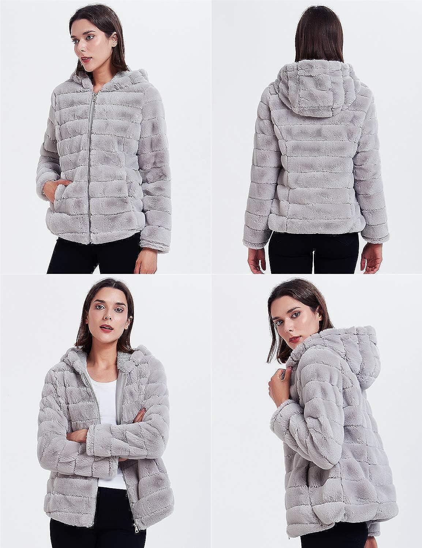 Geschallino Women's Soft Faux Fur Hooded Jacket, 2 Pockets Short Coat, Outwear, Warm Fluffy Fleece Tops for Winter, Spring Grey, Soft