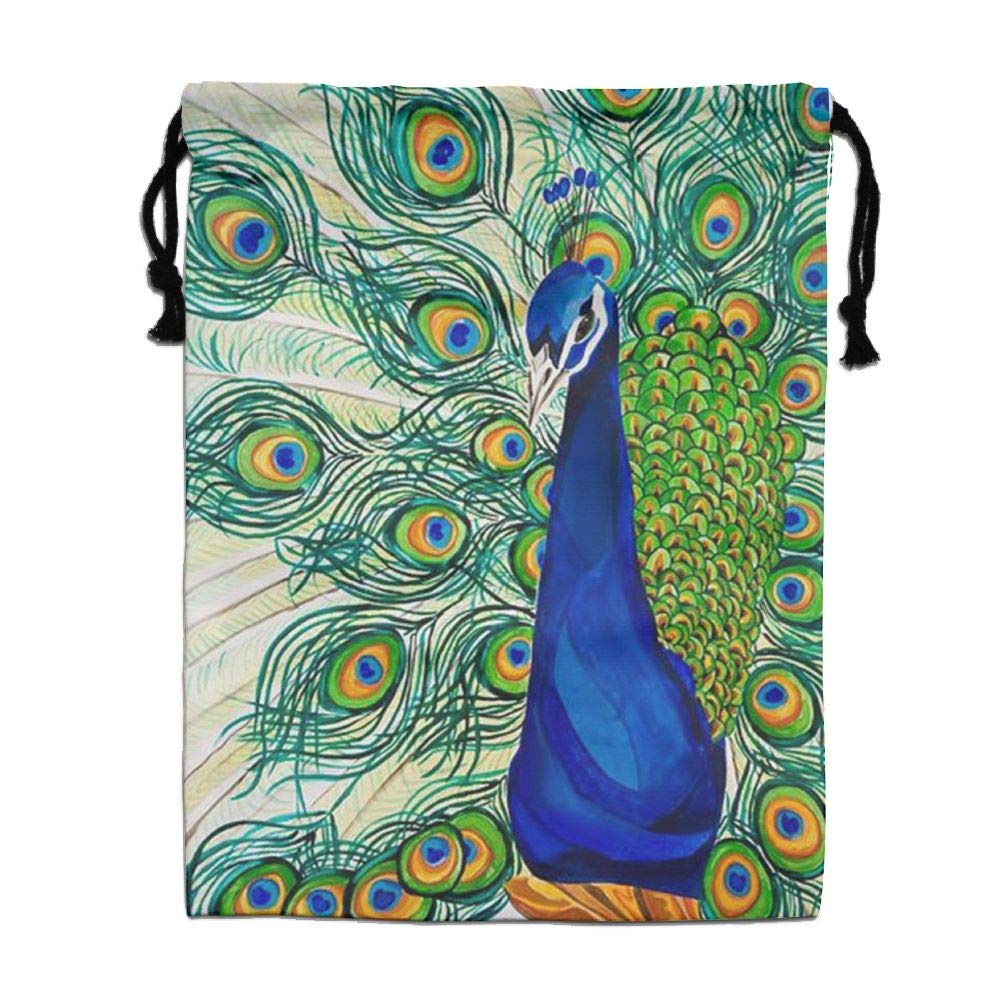CMTRFJ Personalized Drawstring Bag-Peacock Holiday/Party/Christmas Tote Bag