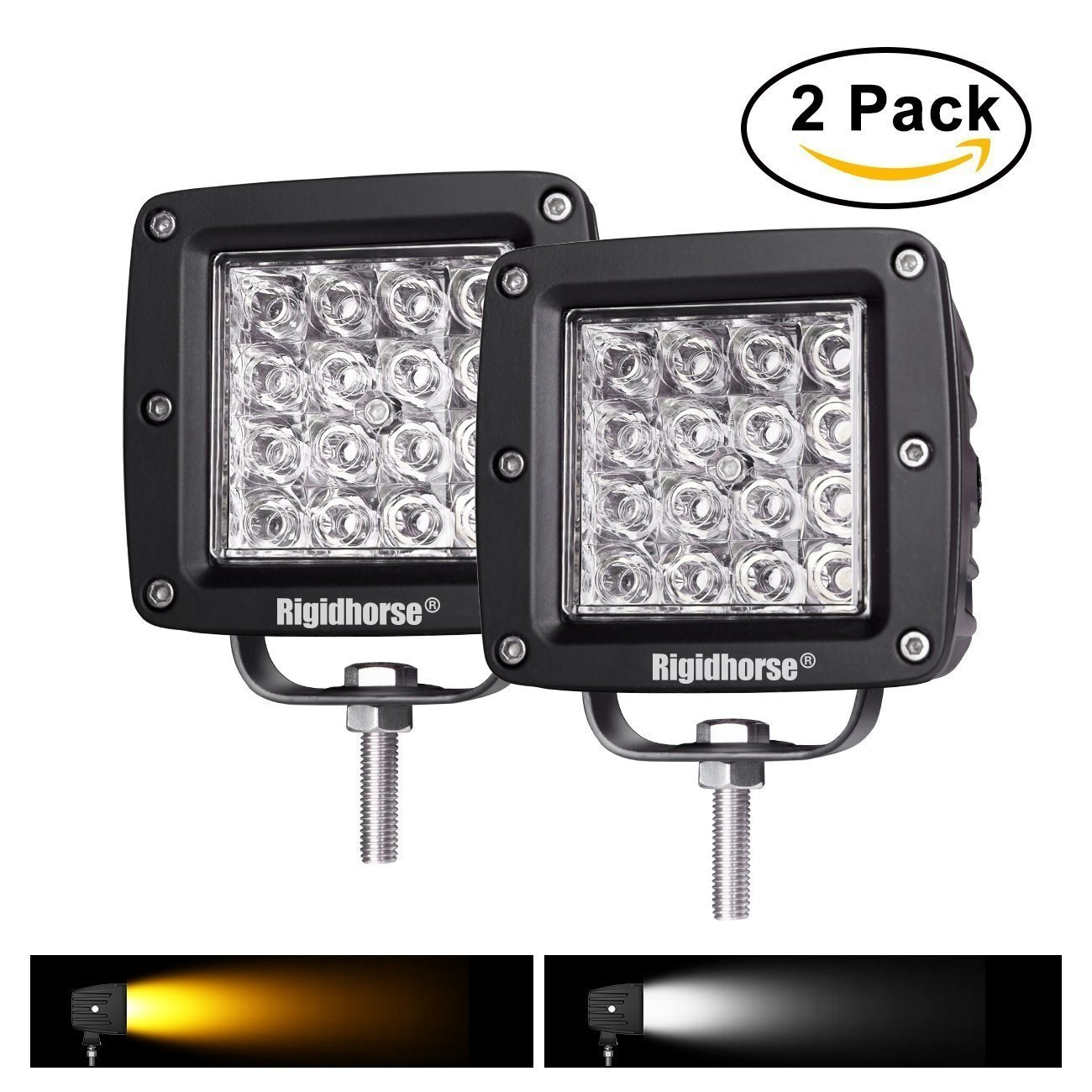 LED Light Pods, Rigidhorse 2 pcs 4 Row 4 Inch 38W Dual-Color White&Yellow Combo LED Light Pods Driving Lights LED Work Light For Jeep/SUV/Trucks With Slidable Mounting Bracket, 2 Year Warranty