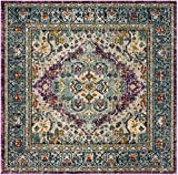 Safavieh Monaco Collection MNC251L Vintage Bohemian Medallion Distressed Violet and Light Blue Area Rug (6'7″ Square) Review