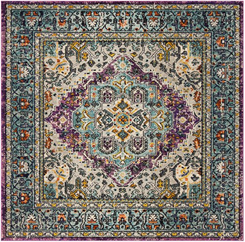 Safavieh Monaco Collection MNC251L Vintage Bohemian Medallion Distressed Violet and Light Blue Area Rug (6'7″ Square) Review