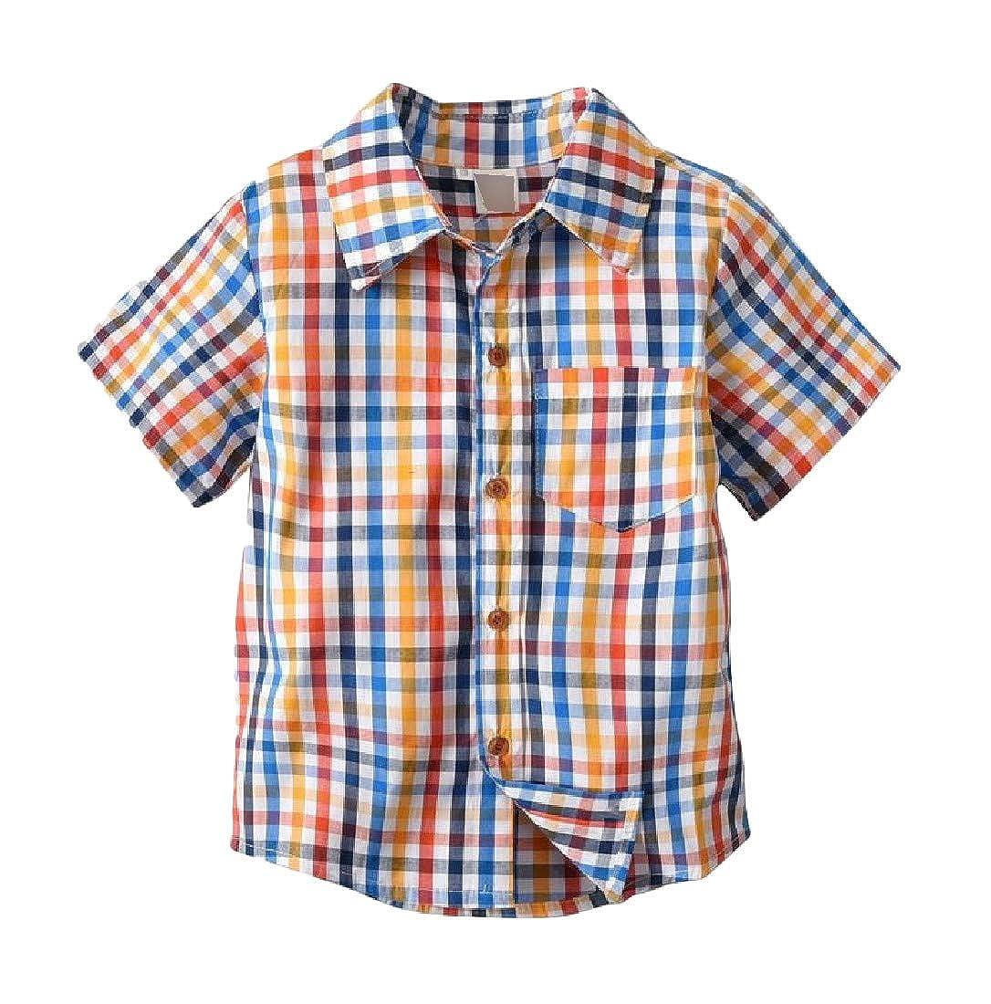 pipigo Boys Fit Short Sleeve Plaid Button Down Shirts