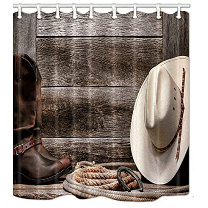 Ashasds Western Shower Curtains For Bathroom Cowboy Hat Boots And Rope Against Retro Wooden Board