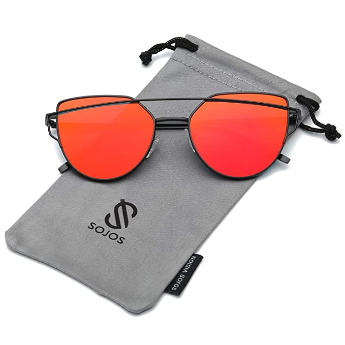 SOJOS Gafas De Sol De Moda Marca Metal Para Mujer-Lentes Planos De Espejo- Con Estilo Ojo De Gato SJ1001 Negro Frente/Rojo Lentes