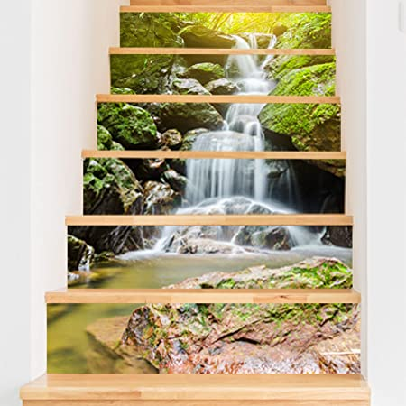 QTZS Escalera 3D Pegatinas De Cascada De Montaña Creativo Inicio Escalera Pegatinas Decorativas 6 Unids: Amazon.es: Hogar