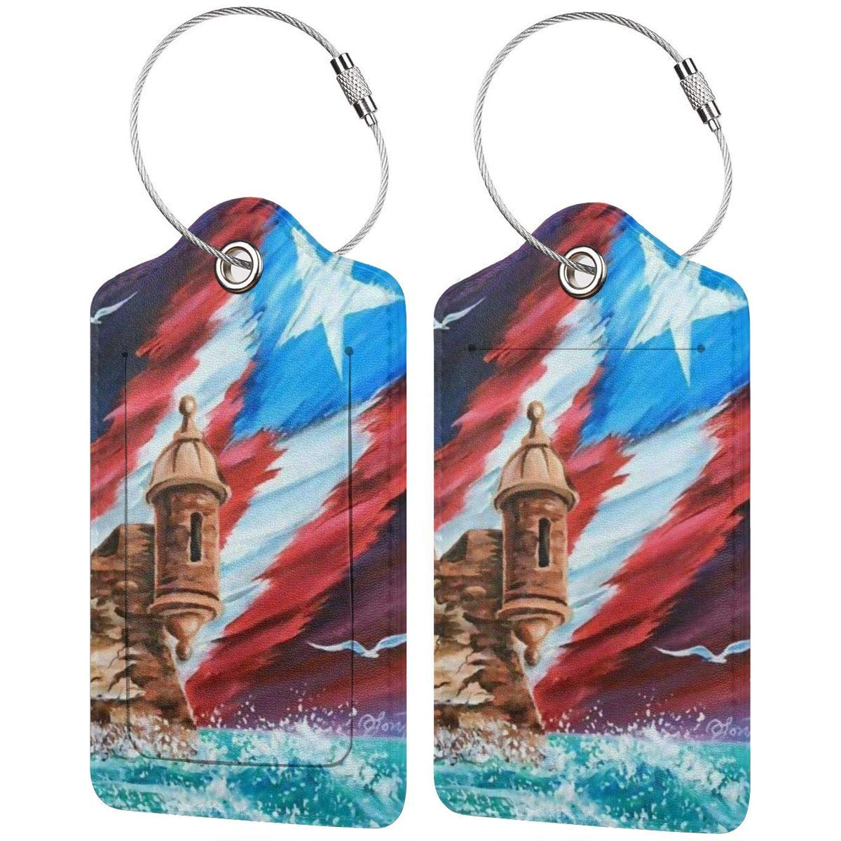 Puerto Rico Flag Leather Luggage Tags Suitcase Tag Travel Bag Labels With Privacy Cover For Men Women 2 Pack 4 Pack