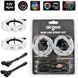 Extended Computer Magnetic LED Strip - Strong Magnet Bright 2pcs RGB LED Strip Light for ASUS Aura RGB/MSI Mystic Light Sync/RGB Fusion/ASROCK Aura RGB and M/B with 4pin RGB LED Strip Header