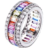 Wedding Ring for Women Mother's Day Multicolor Ring Jewelry for Mom Her Band Ring Size 6 7 8 9 10 11 12