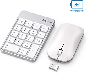 Rechargeable Wireless Number Pad and Mouse Combo, Jelly Comb N026C 2.4GHz Portable Ultra Slim USB Numeric Keypad and Mouse for Laptop, PC (White and Silver)