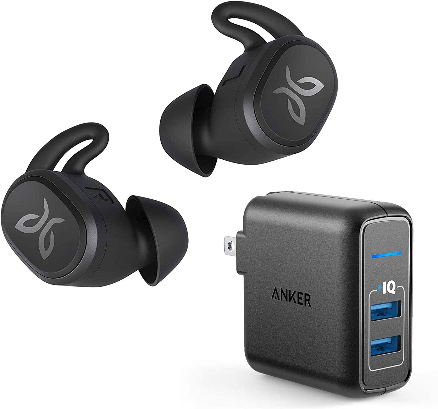 Jaybird Vista Truly Wireless Bluetooth in-Ear Sport Headphones Bundle with Anker 2-Port Wall Charger – Black