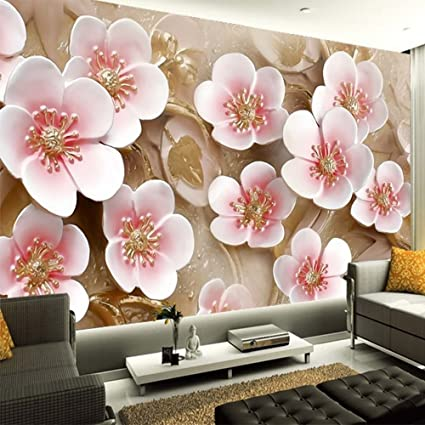 Colomac Wall Mural 3D Embossed Pink Peach Flower Decoration Mural ...