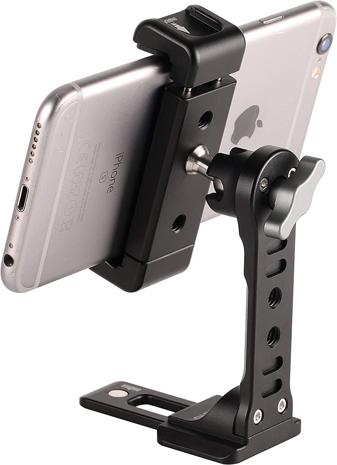 Metal Phone Tripod Mount with Cold Shoe,Woohoto 360 Rotation Phone Tripod Holder Adapter,Desktop Cell Phone Stand, Compatible with iPhone Sumsung Smartphone,Cell Phone Clamp,Video Rig Mount