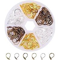 Pandahall 1caja mixta color 120pcs 6colores ganchos de arete latón última intervensión de níquel 17mm para fabricación de joyas, Art Deco, 3 color type 1, 1