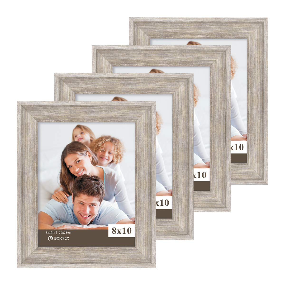 Boichen 8X10 Picture Frames 4 Pack Rustic Style Wood Pattern High Definition Glass for Tabletop Display and Wall mounting Photo Frame Silver Grey Wood