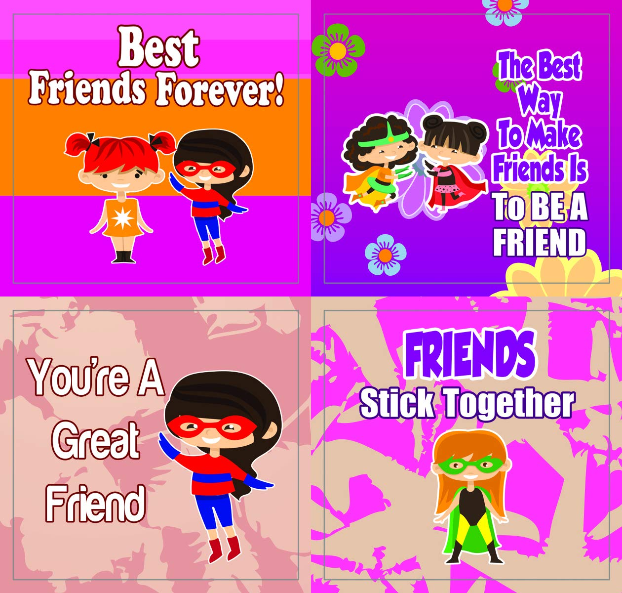 Creanoso Superhero Friendship Stickers 20-Sheet Colorful Giveaways for Children Stocking Stuffers Gifts for Boys /& Girls Teens Classroom and School Reward Incentives Party Supply