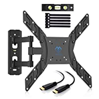 "TV Wall Mount Bracket Swivel Full Motion for Most 23"" - 55"" LED, LCD, OLED and Plasma Flat Screen TVs with VESA Patterns 400x400mm up to 30kg - Includes HDMI Cable, Bubble Level & Cable Tie (23"" - 55"" Full Motion)"