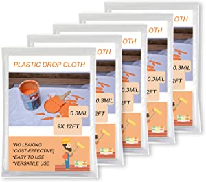 Oiyeefo Clear Plastic Sheeting Drop Cloths for Painting, 5 Pack 9x12ft Plastic Tarp Waterproof Dustproof Tear Resistance Multi-Purpose Furniture Cover Floor Wall Protection Film