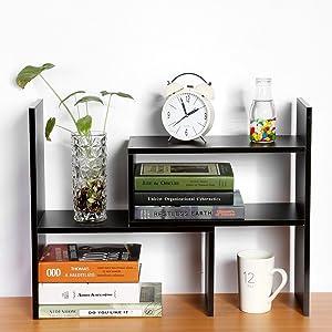 Wood Desktop Bookshelf, Adjustable Counter Top Bookcase Multi-Functional Desk Storage Rack Organizer Display Shelf for Home School Office Supplies - Black
