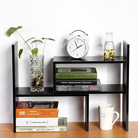 SOULONG - Estantería de escritorio de madera para manualidades, estantería de armario, estantería para organizador de mesa, estantería pequeña ajustable personalizable en la mesa (negro): Amazon.es: Hogar
