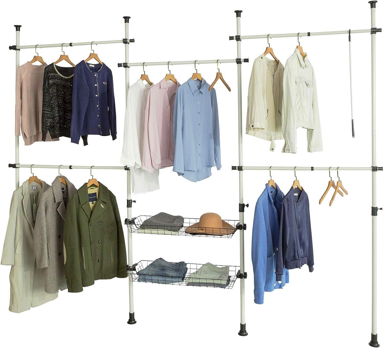 SoBuy® KLS04, Adjustable Wardrobe Organiser Clothes Shelf System Hanging Rail Telescopic Storage Shelving