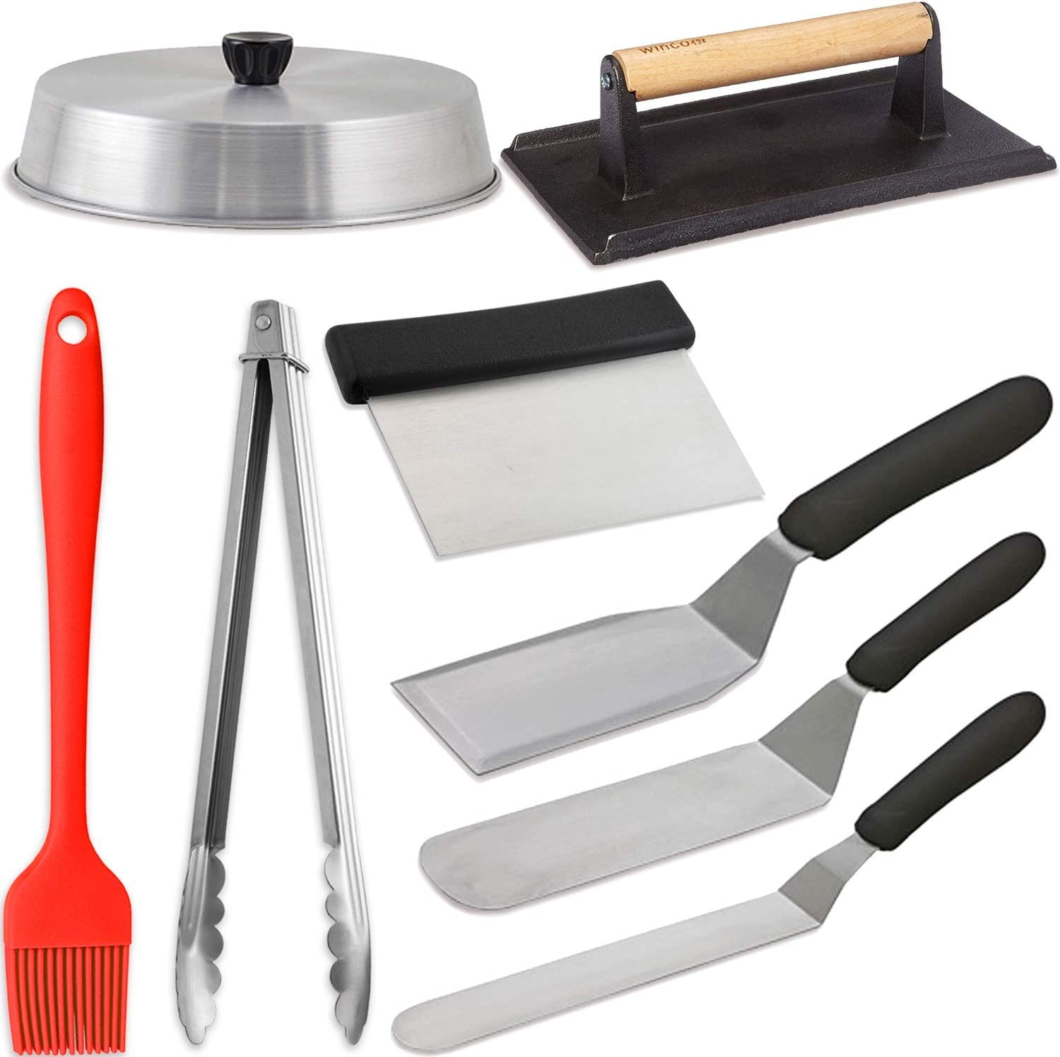 Grill Griddle BBQ Accessories Set 8 Pieces - Includes 10 Inch Round Basting Cover + Grill Press + 3 Spatulas + Scraper + 12