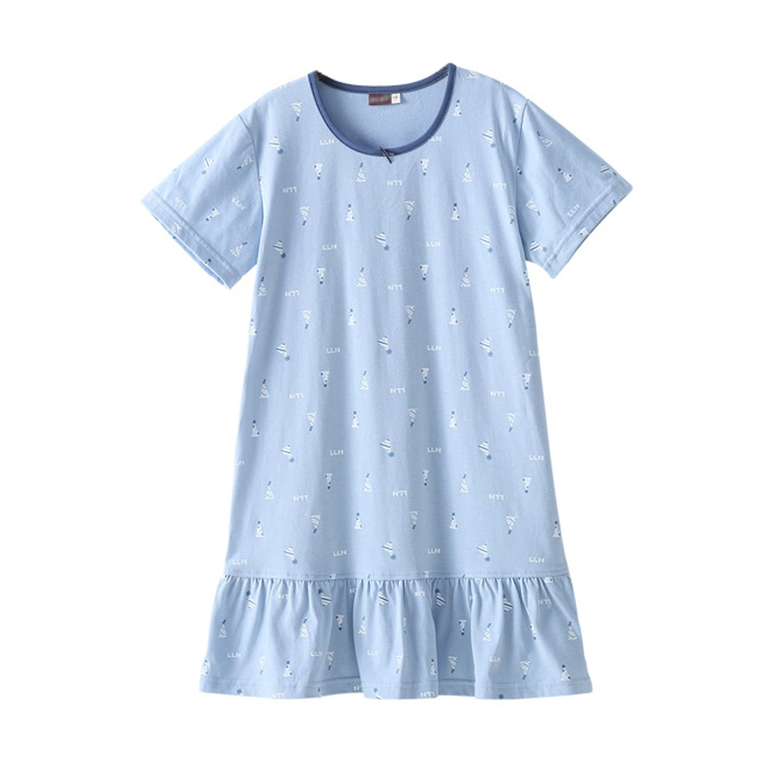 QMore Girls' Princess Nightgowns Summer Sleep Shirts 100% Cotton Sleepwear for 3-9 Years (7-8 Years/Tag140, Blue)