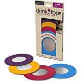Drink Tops Outdoor Wine Glass Covers, 4pk Assorted Colors, perfect way to keep fruit flies and other undesirable outdoor elements out of drinks