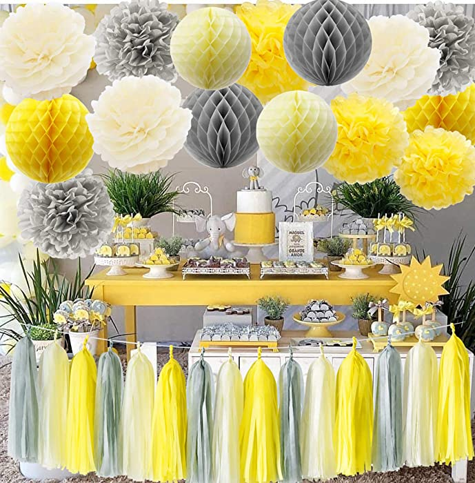 Furuix You are My Sunshine Party Decoration Yellow Grey Elephant Baby Shower Decorations Gray and Yellow Nursery Decor Honeycomb Balls for Bridal Shower Birthday Decorations