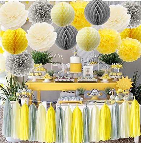 Amazon Com Furuix You Are My Sunshine Party Decoration Yellow Grey Elephant Baby Shower Decorations Gray And Nursery Decor Honeycomb Balls For Bridal Birthday Home Kitchen