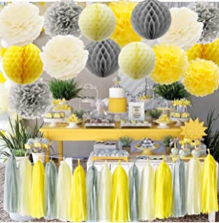 Partywoo Gray Yellow White Balloons 60 Pcs 12 Inch Pack Of