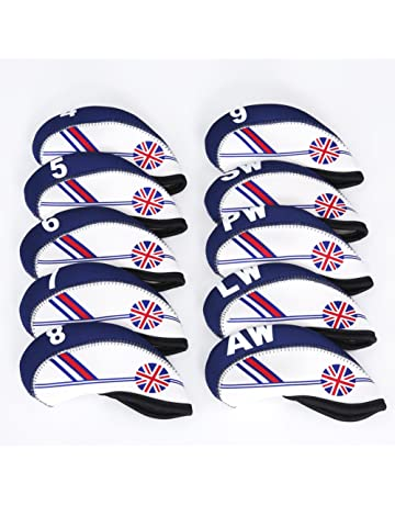 FLTRADE GOLF 10pcs UK Flag Patterned Neoprene Golf Club Iron Head Covers Cover Set Headcovers Protect
