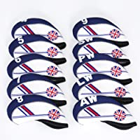 FLTRADE GOLF 10pcs UK Flag Patterned Neoprene Golf Club Iron Head covers cover set Headcovers Protect Case