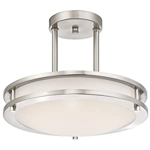 LB72130 LED Semi Flush Mount Ceiling Fixture, Antique Brushed Nickel Finish, 3000K Warm White, 1050 Lumens, Dimmable
