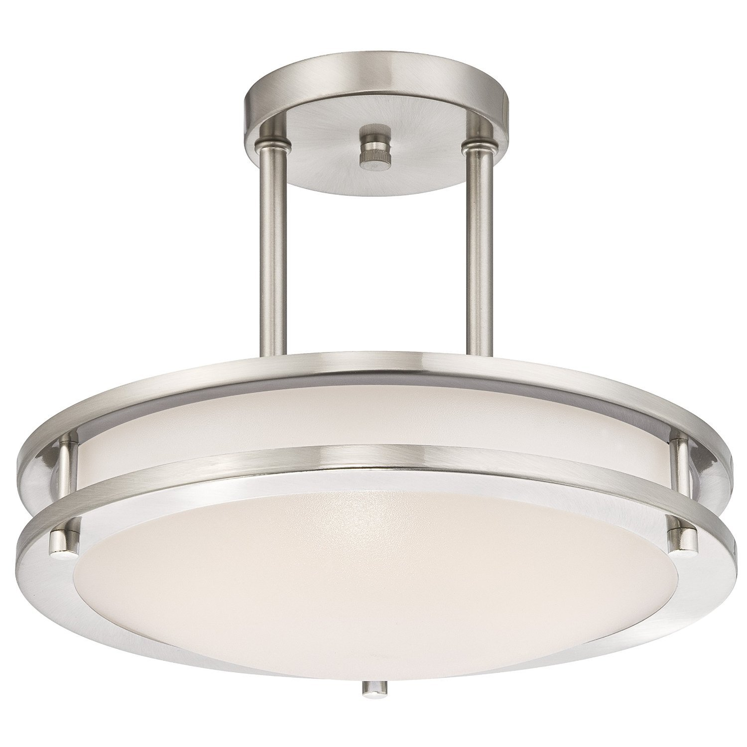 Light Blue™ LED Semi Flush Mount Ceiling Fixture, Antique Brushed Nickel Finish, 3000K Warm White, 1050 Lumens, Dimmable