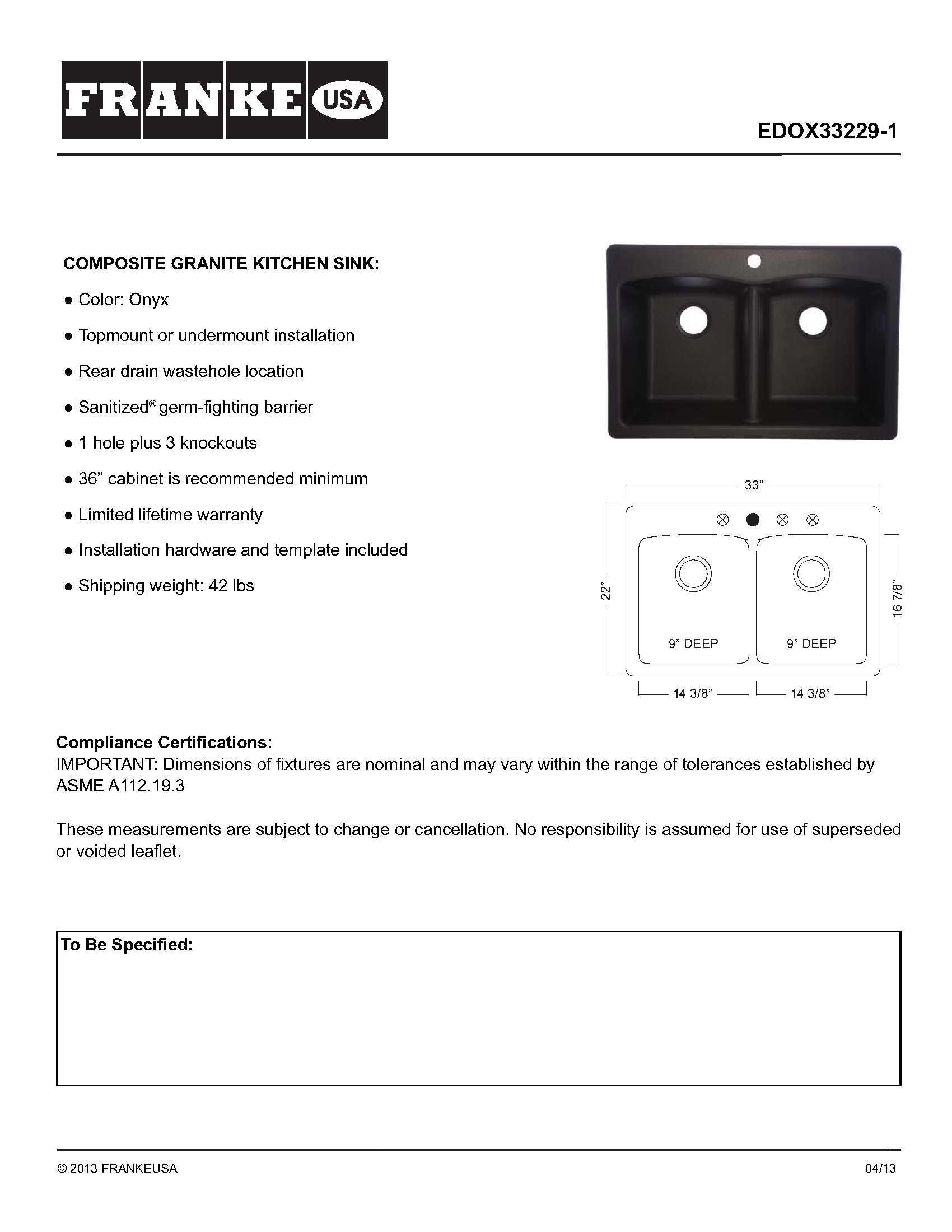 Franke Ellipse 33'' Dual Mount Granite Double Bowl Kitchen Sink, Onyx