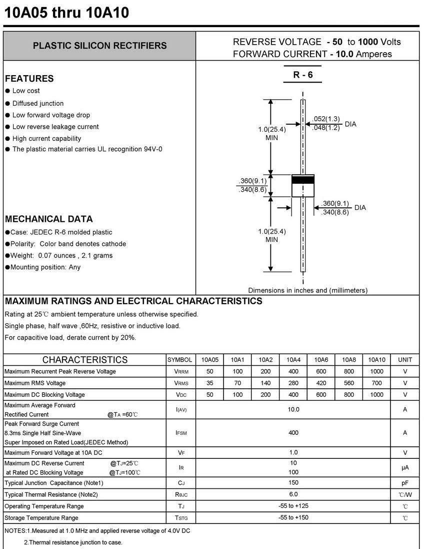 Electronics-Salon 10x 10A10 10A 10 Amp 1000V 1KV Axial Rectifier Diode