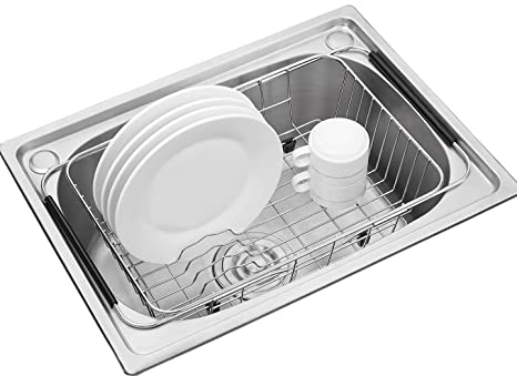 Adjustable Over Sink Dish Drying Rack Stainless Steel Dish Drainer, On  Counter Or In Sink