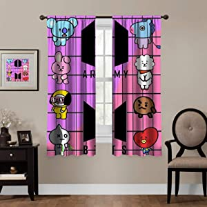 Kpop Blackout Curtains,BTS Logo,Living Room Bedroom Window Drapes Panels Set of 2 with Rod Pocket,Soundproof Shade Curtains,for Boys and Girls Room Décor, 63x63 inches