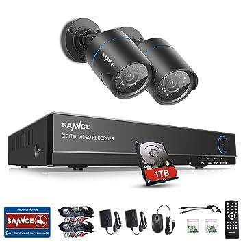 SANNCE Video Überwachungskamera 1TB 1080N 4CH DVR Komplettsysteme 2X 720P Kamera