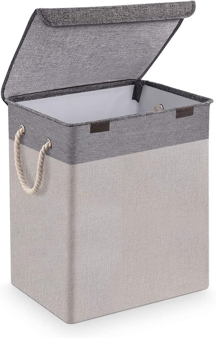 SAWAKE Laundry Basket with Lid, Large Linen Collapsible Laundry Hamper with Handles, Waterproof Lining Detachable Brackets Dirty Clothes Hamper for Bathroom Bedroom Dorm Nursery Organization (Grey)