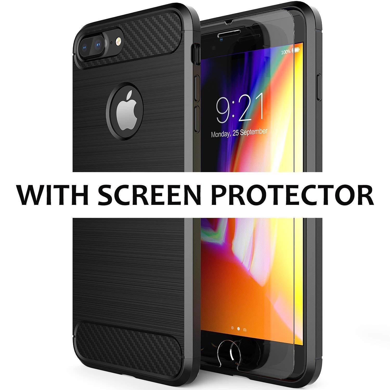 DN-Alive iPhone 7Coque, iPhone 8Coque, avec Protection d'écran [Armour] [Fin] [Noir] [Hybride] [aux Chutes] [Bumper] [TPU]