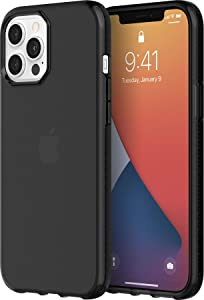 Griffin Survivor GIP-052-BLK Military Standard Clear Case for Apple iPhone 12 Pro Max (6.7 Inches) [Thin Design I Shock Absorbing Corners I Qi Compatible Mobile Phone Case] (Transparent Black)