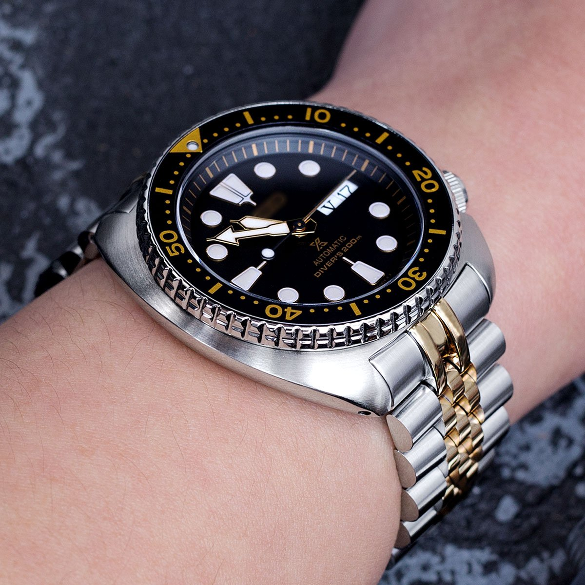 22mm Super 3D Jubilee Watch Bracelet for Seiko New Turtles SRP775, 2-Tone, Button Chamfer by Seiko Replacement by MiLTAT (Image #2)