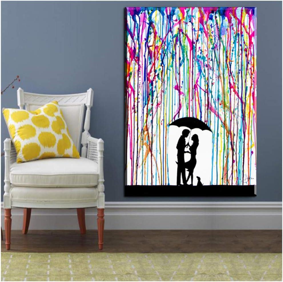 Cuadro en lienzo Abstracto bajo la lluvia Hombre Mujer Amor Carteles Impresiones Pintura en la pared Arte Cielo Cuadro abstracto en lienzo 50x70cm (19.7